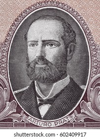 Arturo Prat portrait on Chilean 1 escudo (1964) closeup macro, Chile money close up