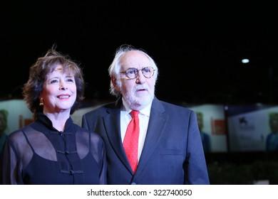 Arturo Ripstein and wife Paz Alicia Garciadiego attend a premiere for 'La Calle De La Amargura' during the 72nd Venice Film Festival at Sala Grande on September 10, 2015 in Venice, Italy.