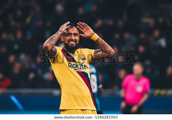 Arturo Vidal Fc Barcelona During Uefa Stock Photo Edit Now 1586281963