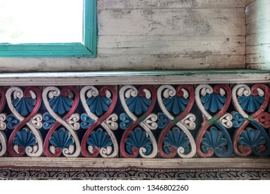 Artvin, Macahel, Turkey - July 25, 2015; An interior view from the historical Camii Mosque in Artvin Macahel  Camili Village. The mosque is famous for its hand painted and wooden ornaments.