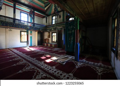 Artvin, Turkey - July 2018: Colorful internal painting and decoration of the mosque in iremit maral village in Artvin, Turkey