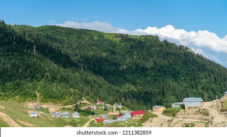 Artvin, Turkey - July 2018: Misirli village in highlands of Blacksea region with traditional wood homes, Artvin, Turkey