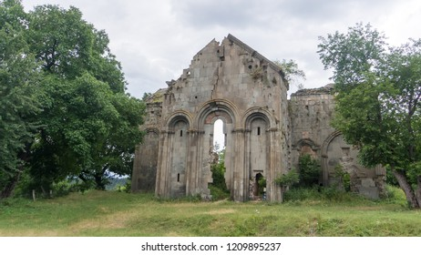 Artvin, Turkey - July 2018: Ruins of old Tibetan Monastery and church in Cevizli village, Savsat, Artvin, Turkey