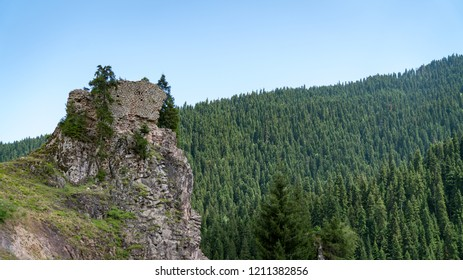 Artvin, Turkey - July 2018: Ruins of old castle in the beautiful nature of Savsat, Artvin, Turkey