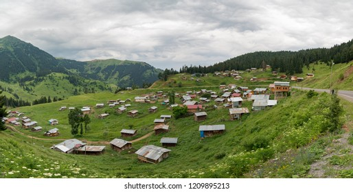 Artvin, Turkey - July 2018: A small village in highlands of Blacksea region with traditional wood homes of Artvin, Turkey