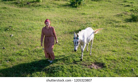 Artvin, Turkey - July 2018: An unidentified woman walks with her horse in Gorgit highland in Blacksea region, Artvin, Turkey