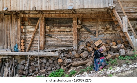 Artvin, Turkey - July 2018: Unidentified woman in local outfit in Maden Village , Savsat, Artvin, Turkey
