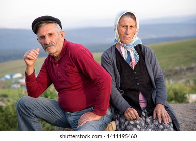 Artvin, Turkey - July 26, 2016 : A peasant couple in plateaus of Artvin city east Blacksea.