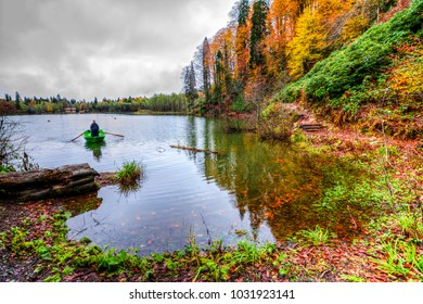 Artvin, Turkey - October 27, 2016 : People are fishing on Borcka Karagol Lake in Artvin.