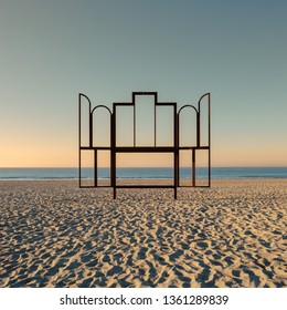 """Artwork 'Altar' on the beach of Oostende, Belgium. This frame is modeled after the famous painting """"Ghent Altarpiece"""" (Het Lam Gods)"""
