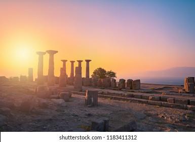 Artwork. Assos, Ancient City. Temple of Athena. Magnificent view. Behramkale, Rome, Greece, Turkey.