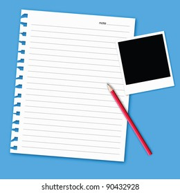 artwork of blank paper note on light color background.