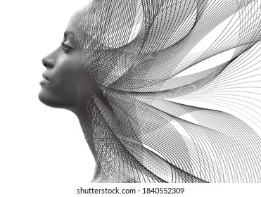 Artwork created by combining a portrait with digital graphics