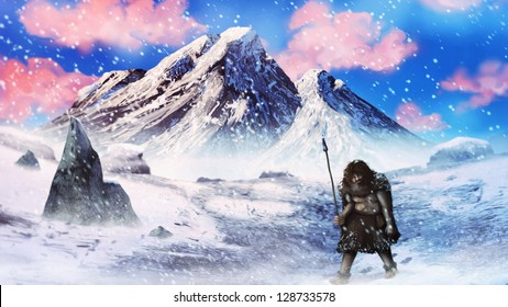 artwork of a neanderthal caveman hunter walking through an ice age blizzard