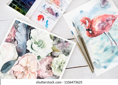 artwork painting hobby and leisure concept. beautiful watercolor pictures of flowers and flamingo