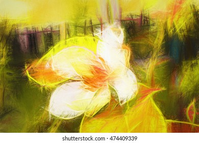 Artwork painting wallpaper- flower colors. Style digital image processing- art styling brush and pencil. Illustration designed for interior decoration.