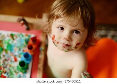 Artwork in progress - child painting