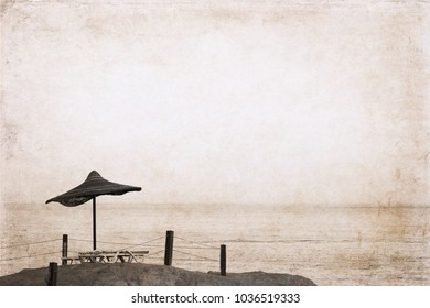 Artwork in retro style, beach