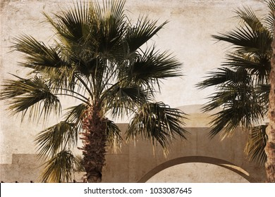 Artwork in retro style, palm trees, Africa, Egypt