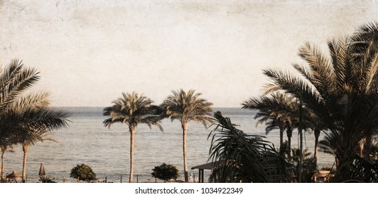 Artwork in retro style, Sea landscape, Egypt, Sharm El-Sheikh