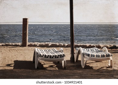 Artwork in retro style, Tourist resort in  Egypt, beach,  Sharm El-Sheikh