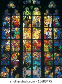 Artwork in St. Vitus cathedral in Prague