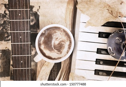 artwork  in vintage style,  cup of coffee and musical instruments