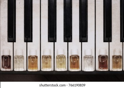 Artwork in vintage style, perfume bottles, piano