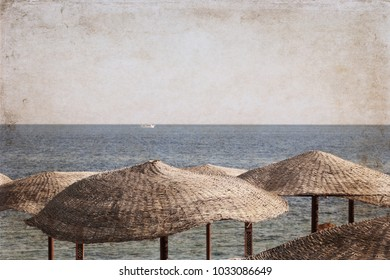 Artwork in vintage style, Sea landscape, beach umbrellas, Egypt, sharm el sheikh