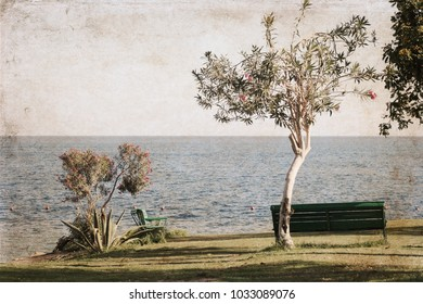 Artwork in vintage style, seascape, Egypt