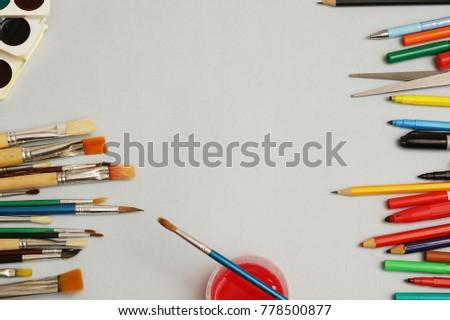 artwork workplace creative accessories art tools stock photo edit