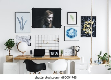 Artworks on the wall in home office
