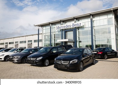 ARTYOM, RUSSIA - CIRCA AUGUST, 2015: Cars at the dealership of Mercedes-Benz for the city of Vladivostok. Mercedes-Benz - brand cars premium class, trucks and buses German concern Daimler AG