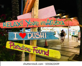 Aruba, Caribbean - January 12 2018: colorful road signs indicating the Caribbean on the island of Aruba