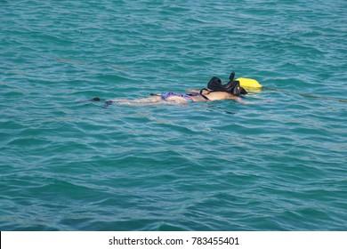 ARUBA - DEC 18, 2017 - Snorkling in the Caribbean Sea off the coast of Aruba