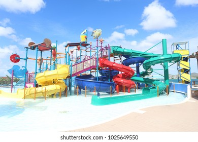ARUBA - FEB 5: Palm Island resort waterpark in Aruba on Feb 5, 2018. Palm Island is a small private island near Aruba, Kingdom of the Netherlands, serving as a tourist attraction.