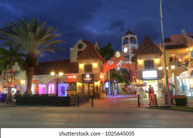 Aruba, Feb 7: POV of Palm Beach which is a world famous street containing high rise hotels and restaurants in the twilight in Aruba on Feb 7, 2018.