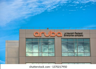Aruba logo on Silicon Valley headquarters. Aruba Networks is a wireless networking subsidiary of Hewlett Packard Enterprise company - Santa Clara, California, USA - April 14, 2019