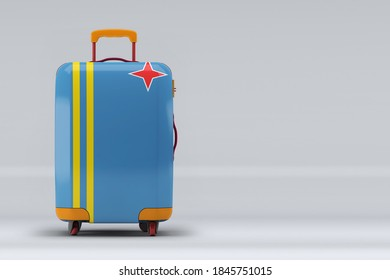 Aruba national flag on a stylish suitcases on color background. Space for text. International travel and tourism concept. 3D rendering.