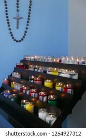 Aruba, NL - November 11, 2018: Candles in Alto Vista chapel