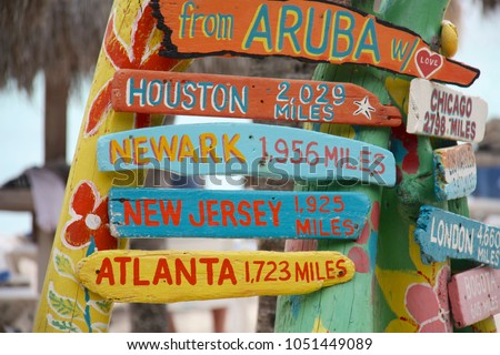 Aruba Sign Distance Locations Houston Tx Stock Photo Edit Now