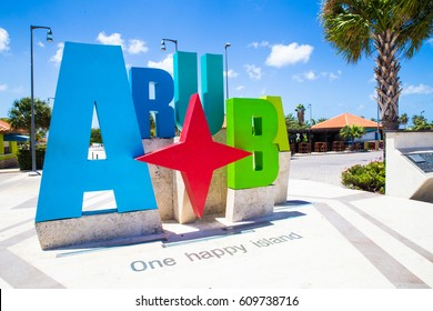 Aruba tourism colorful welcome sign