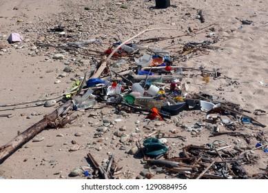Aruba/NL, November 11, 2018: Plastic trash on the beach