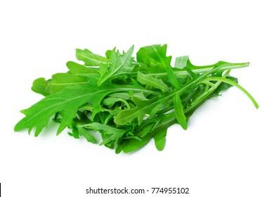 Arugula leaves isolated on white background