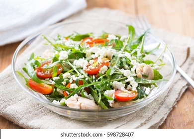 arugula salad with boiled chicken and goat cheese