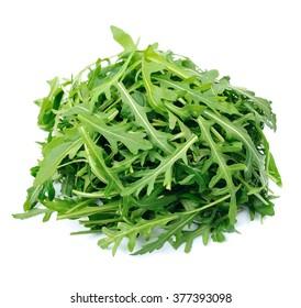 Arugula salad isolated white close up