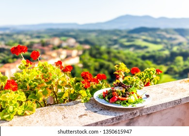 Arugula salad with olives on plate on balcony terrace by red geranium flowers in garden outside in Italy in Tuscany mountain view