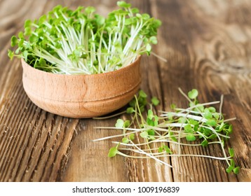 Arugula sprouts cut for salad in a wooden plate on the old rustic table. Micro greens full of vitamins and freshness