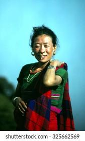 ARUN VALLEY, NEPAL - OCT 1987 - Portrait of tribal Nepalese woman, Kangchenjunga Himal, Nepal