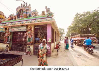 Arunachala, Tiruvannamalai / Tamil Nadu / India, January 22, 2018: Krishna temple next to Sri Ramana Maharshi Ashram